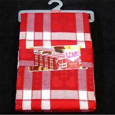 Valentine's Day PLAID FABRIC TABLECLOTH~Metallic Threading~ALL SIZES~NEW