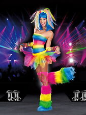 Sexy Adult Women Kandi Kid Rainbow Rave Party Costume Halloween Outfit Dress