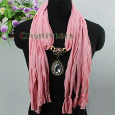 New Women Stylish Fashion Jewelry Pendant Necklace Charm Scarf Tassel Shawl Wrap