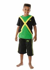 CHILDREN LION OF JUDAH Rasta JAMAICA FLAG T-SHIRT & SHORTS 3-12 Year-FREE UK P&P