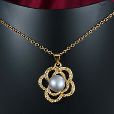 18K Gold White Shell Pearl Flower Crystal Sweater Necklace Pendant Princess Gift