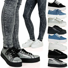 WOMENS SHOES LADIES TRAINERS SNEAKERS LACE UP FLATFORM NEW PLATFORM SIZE WEDGE