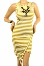DEALZONE Striped Cap Sleeve Dress S L Small Large Women Brown Cocktail
