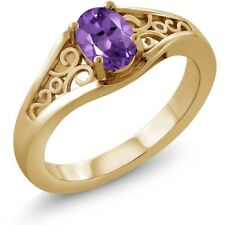 0.75 Ct Oval Purple Amethyst 925 Yellow Gold Plated Silver Ring