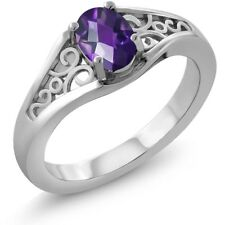 0.75 Ct Oval Checkerboard Purple Amethyst 18K White Gold Ring