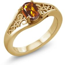 0.70 Ct Oval Orange Red Madeira Citrine 925 Yellow Gold Plated Silver Ring