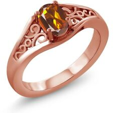 0.70 Ct Oval Orange Red Madeira Citrine 925 Rose Gold Plated Silver Ring