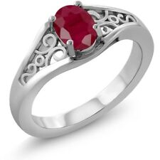 1.02 Ct Oval Red Ruby 18K White Gold Ring