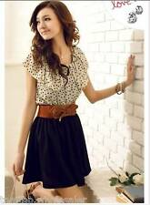 Summer Womens Lady Short Sleeve Chiffon Dots Polka Waist Top Mini Skirt Dress