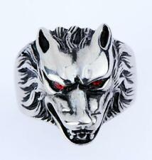 316L Stainless Steel Sliver Mens Red Eye Wolf Head Biker Ring US Size 8-14