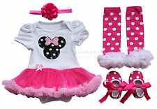 4PCS Minnie Mouse Baby Girl Romper Tutu Dress Outfit Wedding Clothes Set SZ 0-9M