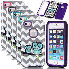 Glossy Owl Waves Pattern Hybrid Shockproof Rugged Armor Case For iPhone 6 5S 5C