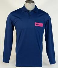Nike Golf Tour Performance Dri Fit Blue Long Sleeve Polo Shirt Mens NWT