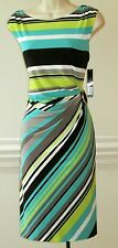 $124 Tahari by ASL Sleeveless Striped Side-Ruched Dress, Size-10