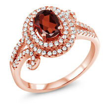 2.15 Ct Oval Red Garnet 925 Rose Gold Plated Silver Ring