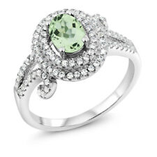 2.25 Ct Oval Green Amethyst 925 Sterling Silver Ring