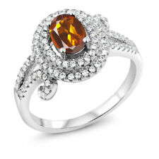 1.95 Ct Oval Orange Red Madeira Citrine 925 Sterling Silver Ring