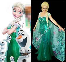 J919 FROZEN FEVER ELSA green dress full set cape & dress spring costume cosplay