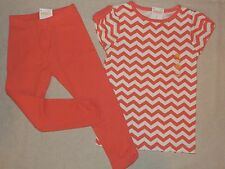 Gymboree CHERRY BLOSSOM Coral Pink Orange Ruched Leggings Zig Zag Tee Lot NWT 5