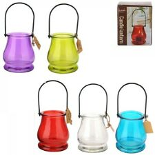 1pc Bell Shaped Bright Glass w/ Metal Hanger Tealight Holder Party Theme 9.5x8cm