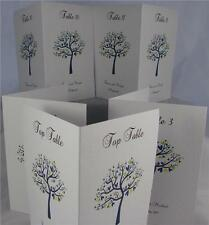 Personalised A6 White Wedding Table Number Name Cards Side Fold Love Bird Tree