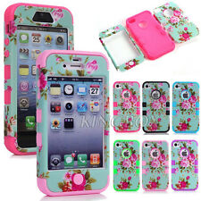 Peony Flower Skin Soft Hard Combo Heavy Duty Shockproof Matte Case For iPhone