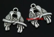 40/100pcs Tibet Silver two-sided parrot Jewelry Finding Charm Pendant 18mm