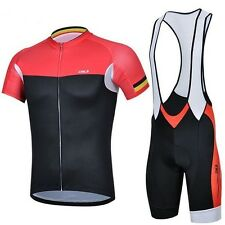 Outdoor Sports Cycling Bike Bicycle Wear Short Sleeve Jersey + Bib Shorts 3D Pad