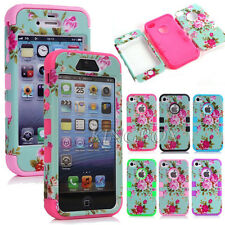 Peony Flower Floral Pattern Heavy Duty Hybrid Matte Hard Case Cover For iPhone