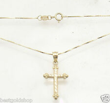 Sparkle Diamond Cut Cross with Box Chain Necklace Real Solid 14K Yellow Gold