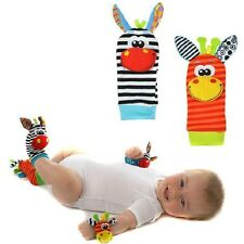 1pair Infant Baby Wrist Watchs Foot Socks Rattles Cute Animals Finders Toys - LD