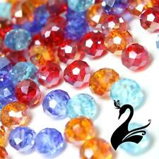 Glass Crystal Beads - Round Rondelle Faceted Clear 5x6mm (Pack of 48) - Craft Mi