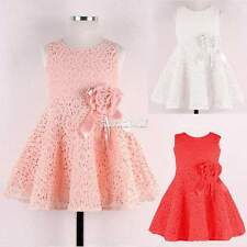 Kids Girls Toddlers Princess Birthday Party Flower Solid Lace Skirt Dress Sz2-7Y