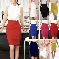 Women's Slim Fitted Knee Length Straight Pencil Skirt High Waist Career Dress