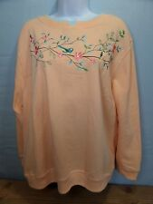 Shenanigans Fleece Top Pull Over Women's Sweatshirt Peach Bird Blossoms Branches