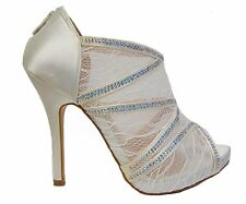 Ivory Lace Rhinestone Platform Peep Toe Bridal Heels Sandals Booties Shoes