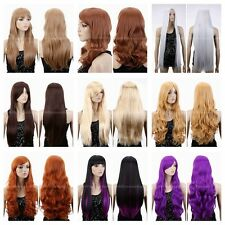 New Fashion Women Long Straight Curly Wavy Wig Cosplay Brown/Orange/Blonde/White