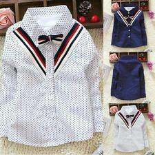 Baby Boy Kids Polka Dots Lapel V Neck Long Sleeve Shirt T-shirt Toddler Clothes