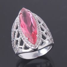 Fashion HOT Marquise pink sapphire crystal 18k white gold filled ring SzM-T