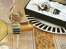 36 72 or 144 Wedding Favors-Golden Design Murano Art Deco Wine Bottle Stoppers
