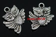 10/40/240pcs exquisite Tibet silver two-sided owl Charms pendant 20x17mm