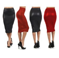 NEW High Quality Casual High Waisted Skirt Black Red Faux Leather Pencil Skirt