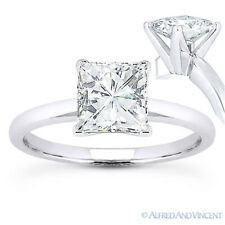 Square Cut Forever Brilliant Moissanite 14k White Gold Solitaire Engagement Ring