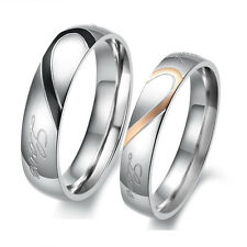 Lovers Heart Shape Matching Titanium Steel Promise Ring Couple Wedding Bands