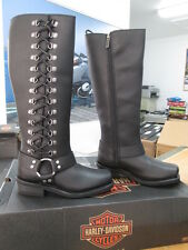 NEW Harley Davidson Womens Leather Boot Boots Shoes Medium Black Romy