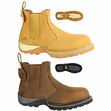 MENS STEEL TOE SAFETY WORK OUTDOOR SLIP PULL ON CHELSEA ANKLE DEALER BOOTS SIZE