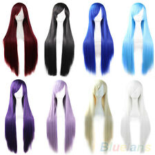 Sexy Womens Ladys Synthetic Hair Long Anime Cosplay Wigs Straight Full Wigs Gift