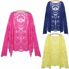 New Ladies Women Lace Embroidery Floral Crochet Open Cardigan Shirt Tops Jacket