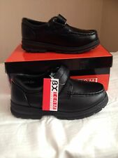 BRAND NEW IN BOX: Boys vecro black hard wearing school shoes, size: 12-6 kids