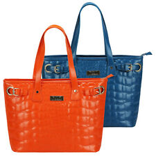 Ladies Womens Girls Teal Orange Quilted Fashion Tote Shoulder Bag Medium Bags